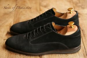 Men's John Lobb Black Nubuck Leather Suede Shoes Trainers Sneakers UK 8 US 9