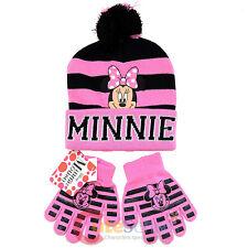 Disney Minnie Mouse Girls Beanie Hat Gloves Set - College Stripe Cuff Pink