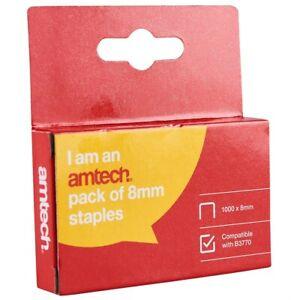 1000pc 8mm STAPLES UPHOLSTRY STAPLE GUN TACKER HEAVY DUTY STAPLE AMTECH B3772