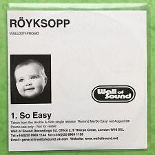 Royksopp - So Easy - Röyksopp - Poly Sleeve - Promo CD