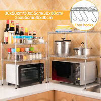 2Tier Microwave Oven Rack Shelf Kitchen Storage Stand Holder Organiser With Hook
