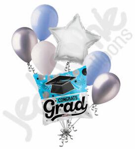 7 pc Congrats Grad Light Blue Balloon Bouquet Happy Graduation Congratulations