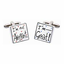 I'm Not Arrogant, I'm Great Cufflinks by Sonia Spencer, Hand painted, RRP £20!