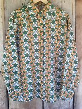 Psychedelic VTG RARE Disco Club Green Geometric Men's M / L Shirt 70s Butterfly