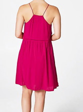 Target 14 Lace Inserts Cerise Halter Look Strappy Lined Dress Racer Back