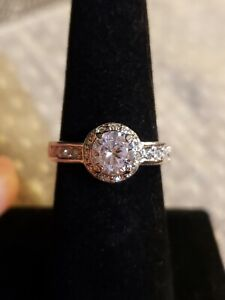 Cubic Zirconia Solitaire Halo Ring, Size 8, 18K WGP, 6.5mm Round, 9mm Halo