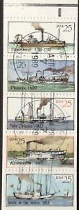 1989 25c Steamboats Booklet Pane of 5, Scott #2405-09, Cancelled, VF