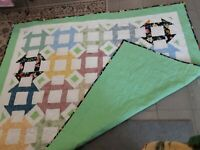 HANDMADE PROFESSIONALLY QUILTED PIECED CHURN DASH QUILT
