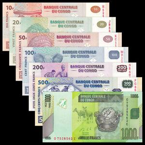 Set 7 PCS, Congo Democratic Republic 10-1000 Francs, UNC, G#4