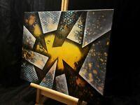 Peinture tableau huile sur toile abstraite, format 40/50 cm