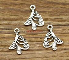 50pcs Christmas Tree Charms Tree Charms Holiday Charms Antique Silver 15x21 2936