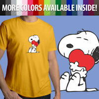 Peanuts Snoopy Charlie Brown Comics Cute Heart Love Unisex Mens Tee Crew T-Shirt