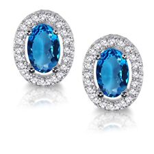 Topacio Azul Ovalado Diamante Sintético Halo Pendientes Broche Plata Ley