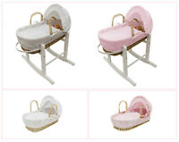 Kinder Valley Dolls Moses Basket & Solid Wood Rocking Stand Pink / White QUALITY
