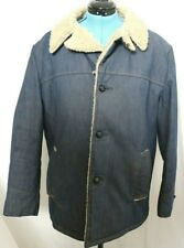Raritan Sportswear Jean Denim Shearling Sherpa Lined Trucker Jacket Men's 46