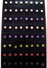 Bulk lot 72 Pairs 4mm Colour Square Zirconia Studs with Display Stands FREE POST