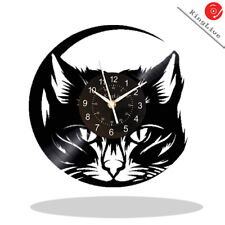 Meow Cat Vinyl Record Wall Clock 12 Inch Art Vintage Black Animal Shop Decor