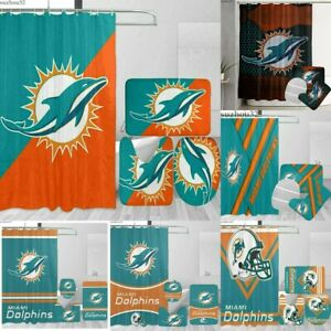 Miami Dolphins Shower Curtain Bathroom Non-slip Rugs Set Toilet Lid Cover 4PCS