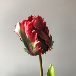 1 Dark Pink Artificial Parrot Tulip, Burgudy Yellow Realistic Faux Silk Flower