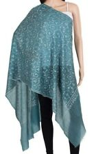 Pure Cashmere Blue Pashmina white Embroidery border Luxury Royal Soft