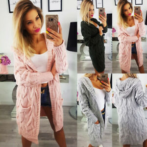 New Womens Chunky Cable Knitted Oversized Longline Hooded Cape Ladies Cardigans