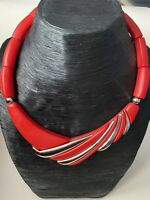 Vintage Retro Plastic 80s Statement Bib/Collar Necklace Red