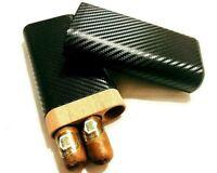 Carbon Fiber Leather 3 Tube Wooden Cigar Case/Holder Travel Humidor