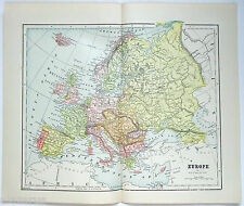 Original 1889 Map of Europe by Hunt & Eaton