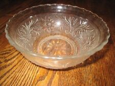 Collectible Anchor Hocking Clear Sandwich Glass Boat Bowl Flower & Leaf
