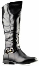 Ladies Womens New Mid Calf Inside Zip Riding Biker Chain Boots Shoes Size 3-8
