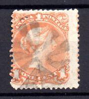 Canada 1868 1c orange yellow Large Head fine used fancy Cancel SG56b WS18195