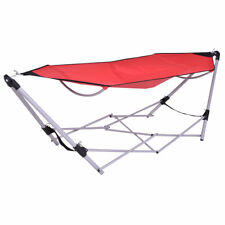 Red Portable Folding Red Outdoor Hammock Steel Frame Stand Bag Backpack Camping