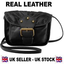c5ad9e0f2d Lorenz Real Leather VERY SMALL Shoulder Cross body Bag With Buckle Detail  BLACK