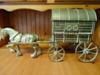 "B36- VINTAGE LARGE 5.2kg HEAVY BRASS HORSE & GYPSY CARAVAN - 21"" / 53.3cm Length"