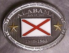 Pewter Belt Buckle Alabama State Flag NEW CSA