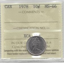 **1978**, ICCS Graded Canadian,  10  Cent, **MS-66**