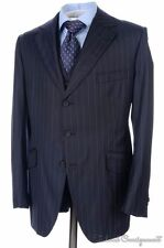 HENRY POOLE Savile Row Blue Striped Wool Jacket Vest Pants SUIT - Bespoke 38 S
