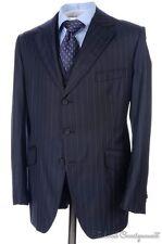 HENRY POOLE Savile Row Blue Striped Wool Jacket Vest Pants SUIT - Bespoke 38 S