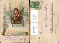 391931,Künstler Litho Weihnachten Christkind Automobil Geschenke Tannenbaum