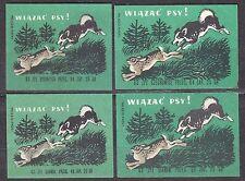 POLAND 1963 Matchbox Label - Cat.Z#364 set, Tied up the dogs!