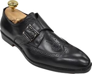 Mens Antonio Cerrelli Black Wingtip Monkstrap Perforated Design Dress Shoes