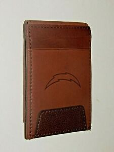 LOS ANGELES CHARGERS GENUINE LEATHER MAGNETIC CARD WALLET w/ PHOTO ID WINDOW