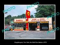 OLD LARGE HISTORIC PHOTO POUGHKEEPSIE NEW YORK THE SHELL GAS STATION c1970