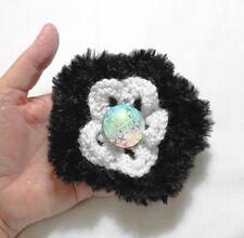 12cm dia. Black/White Handmade knitted flower brooch,