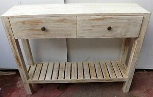 Console Table Teak Solid Wood White Pickled Industrial CMS 100x25x80h With Draw