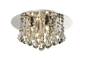 Flush Ceiling Light, 4 Lights G9 with Hanging Crystals Chrome Finish, RRP: £108