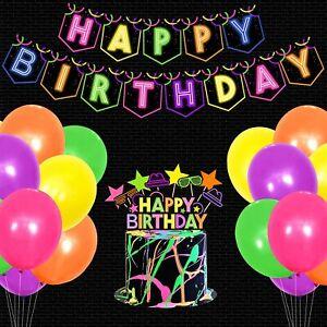 Glow Birthday Party Decoration Set Glow In The Dark Happy Birthday Banner Neon C