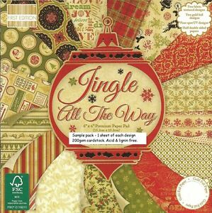 JINGLE ALL THE WAY Dovecraft 6 x 6 Sample Paper Pack 1 of each design 16 Sheets