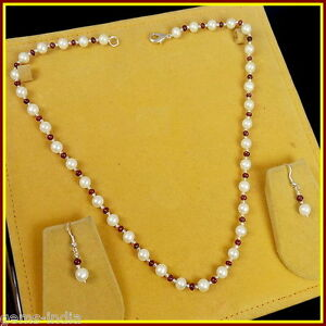 Gorgeous Freshwater Pearl Red Ruby Beaded Necklace & Matched Pair Earrings