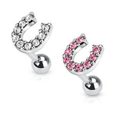 Lucky Horseshoe Tragus Lip Labret Nose Ear Cartilage Piercing Barbell Stud